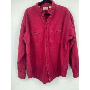 LL Bean mens Xl chamois shirt button up red work